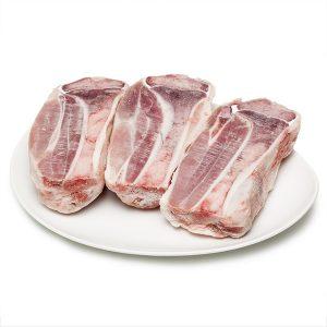 Braons de porc tallats pel mig